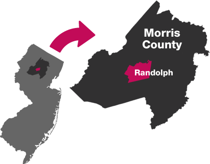 map showing Randolph and Morris County